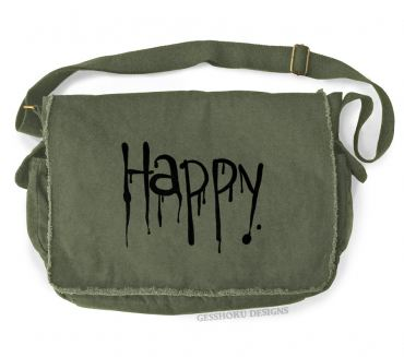 """Happy"" Dripping Text Messenger Bag"