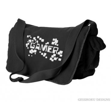 Gamer Floating Pixels Messenger Bag