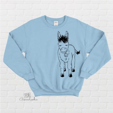 Donkey with Flower Crewneck Sweatshirt