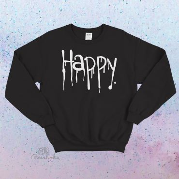 """Happy"" Dripping Text Crewneck Sweatshirt"