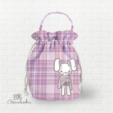 Plaid Punk Bunny Drawstring Bucket Bag