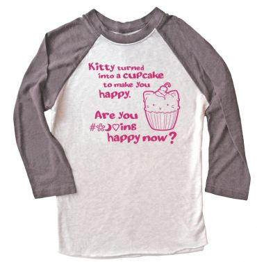 Kitty Turned into a Cupcake Raglan T-shirt 3/4 Sleeve