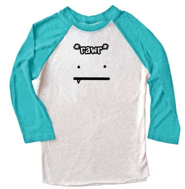 Rawr Face Raglan T-shirt 3/4 Sleeve