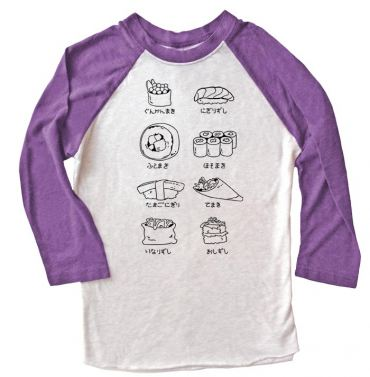Sushi Types Raglan T-shirt 3/4 Sleeve