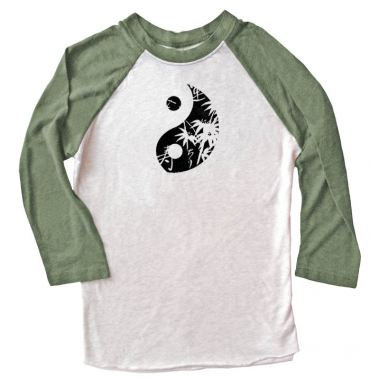 Asian Pattern Yin Yang Raglan T-shirt 3/4 Sleeve