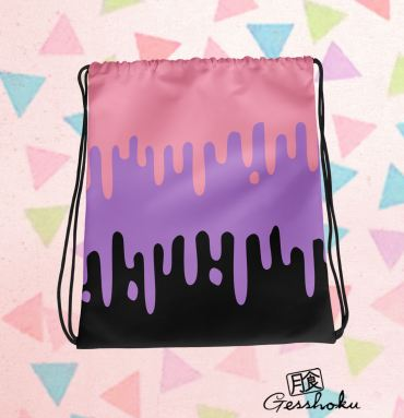 Pastel Drips Drawstring Bag