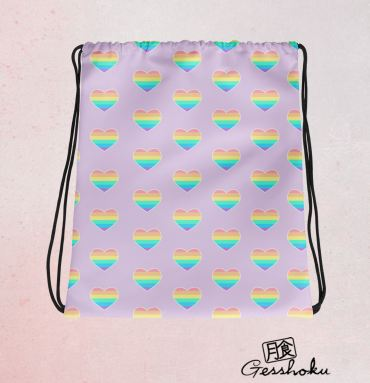 Rainbow Hearts Drawstring Bag