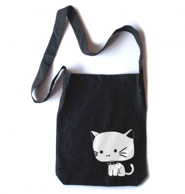 Chibi Goth Kitty Crossbody Tote Bag