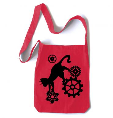 Steampunk Cat Crossbody Tote Bag