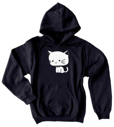Chibi Goth Kitty Pullover Hoodie