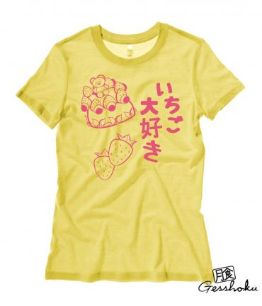 "Ichigo ""I Love Strawberries"" Kawaii Ladies T-shirt"