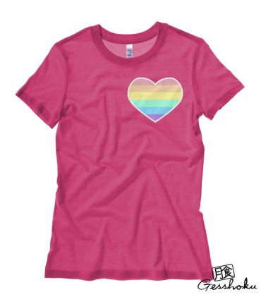 Pastel Rainbow Heart Ladies T-shirt