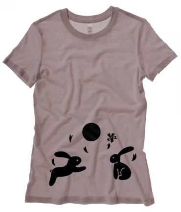 Japanese Moon Bunnies Ladies T-shirt