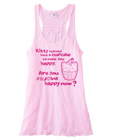 Kitty Turned into a Cupcake Flowy Tank Top