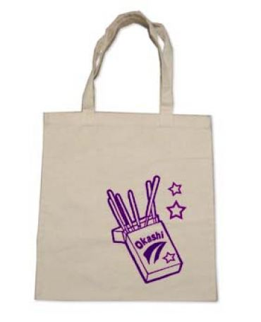 "Okashi Candy Sticks ""Pocky"" Tote Bag (purple/natural)"