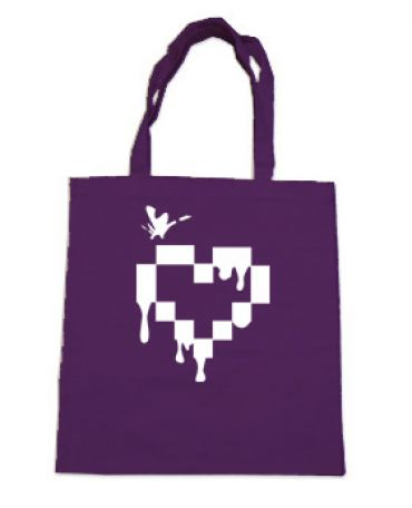Pixel Drops Heart Tote Bag