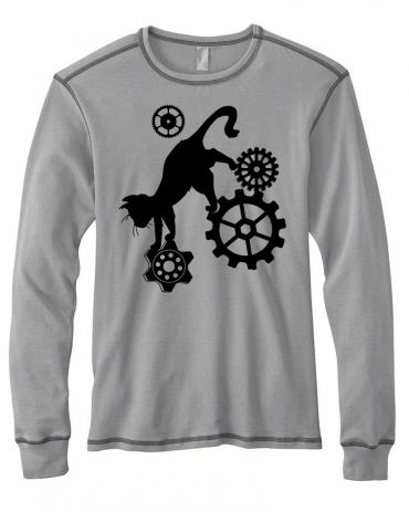 Steampunk Cat Mens Thermal Long Sleeve Shirt