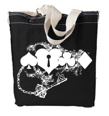 Key to my Heart Card Suit Designer Tote Bag