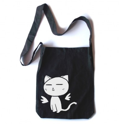 Angel Wings Kawaii Kitty Crossbody Tote Bag