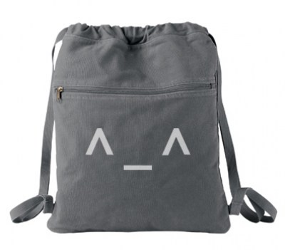 Happy Emoticon Cinch Backpack (white/grey)