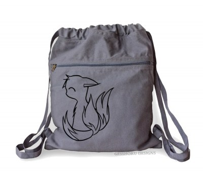 3-tailed Baby Kitsune Cinch Backpack