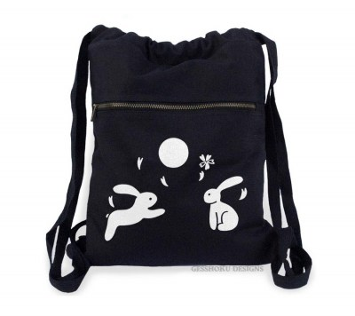 Asian Moon Bunnies Cinch Backpack