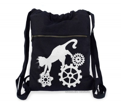 Steampunk Cat Cinch Backpack