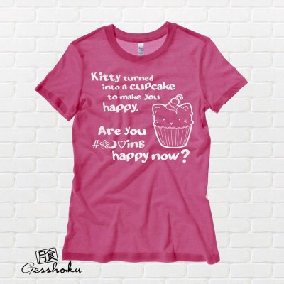 Kitty Turned into a Cupcake Ladies T-shirt