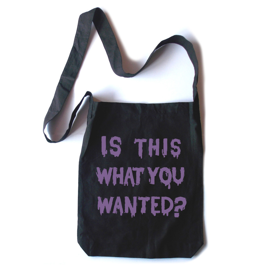 Is ThiS WHaT YoU wANTed? Crossbody Tote Bag - Purple/Black