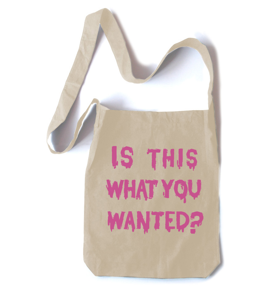 Is ThiS WHaT YoU wANTed? Crossbody Tote Bag - Natural