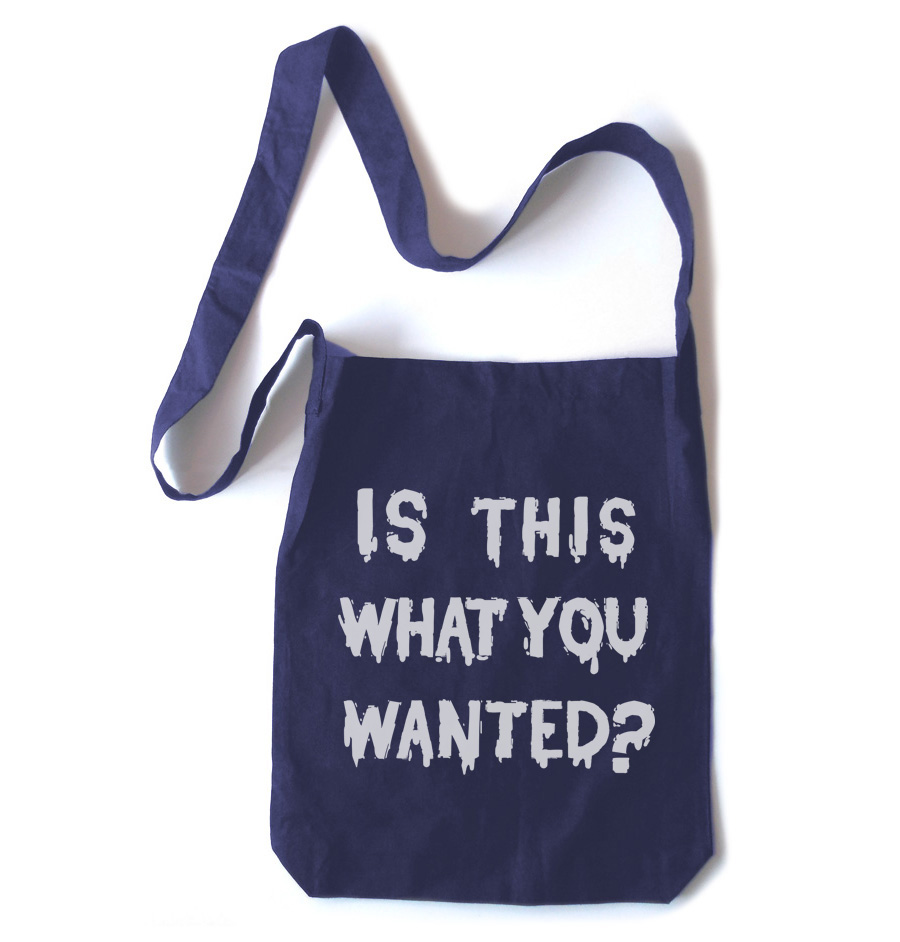 Is ThiS WHaT YoU wANTed? Crossbody Tote Bag - Navy Blue