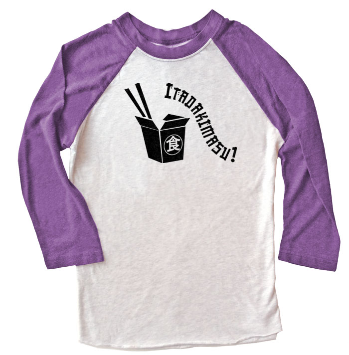 Itadakimasu! Raglan T-shirt 3/4 Sleeve - Purple/White