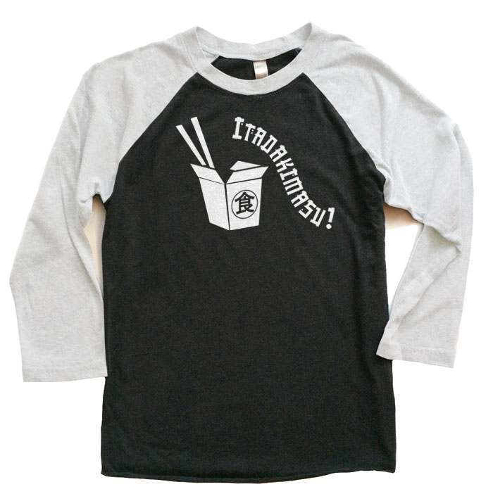 Itadakimasu! Raglan T-shirt 3/4 Sleeve - White/Black