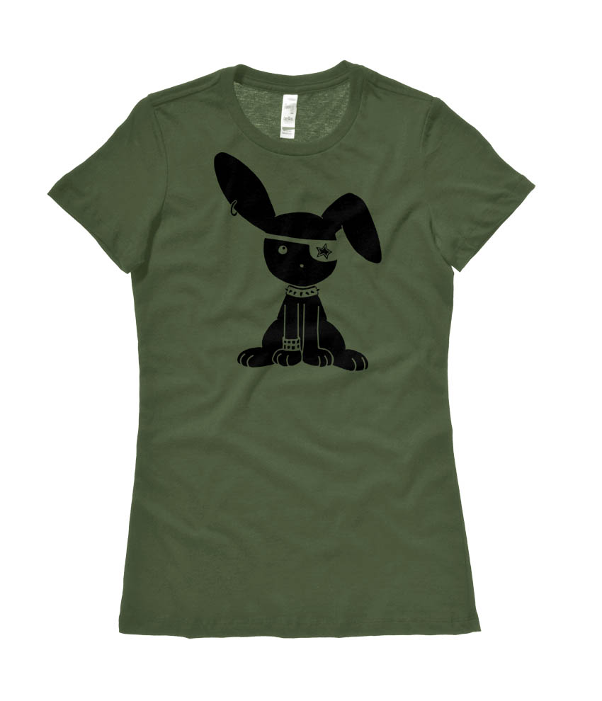 Gothic Jrock Bunny Ladies T-shirt - Olive Green