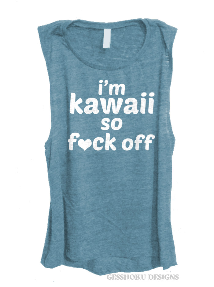 I'm Kawaii So Fuck Off Sleeveless Tank Top - Denim Blue