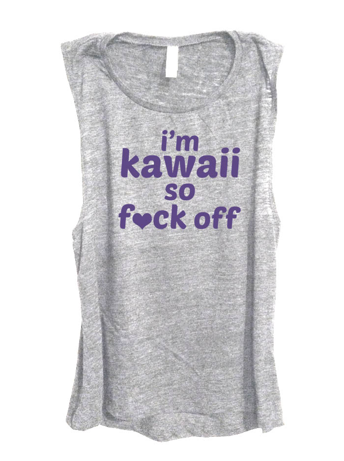 I'm Kawaii So Fuck Off Sleeveless Tank Top - Light Grey