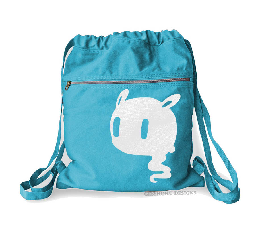 Kawaii Ghost Cinch Backpack - Aqua Blue