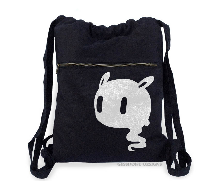 Kawaii Ghost Cinch Backpack - Black