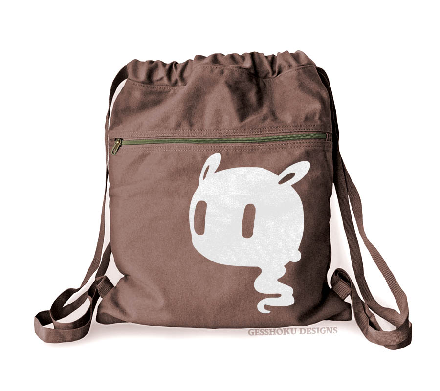 Kawaii Ghost Cinch Backpack - Brown