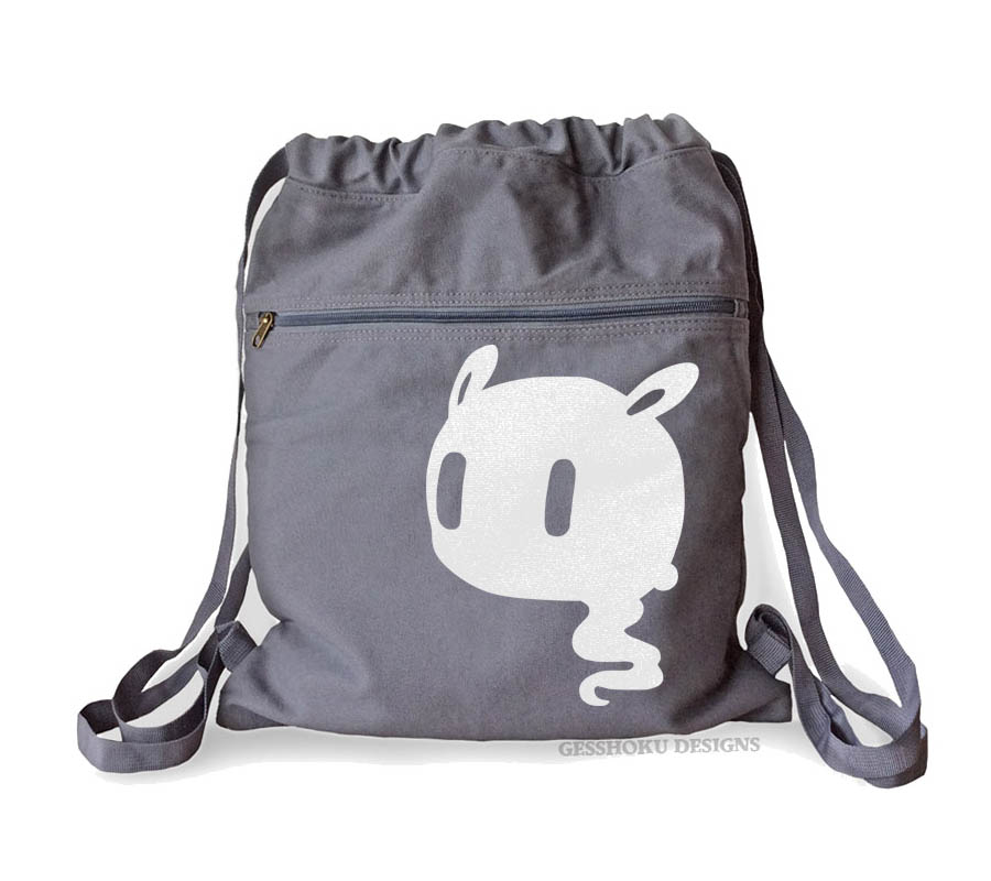Kawaii Ghost Cinch Backpack - Smoke Grey