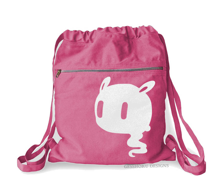 Kawaii Ghost Cinch Backpack - Raspberry