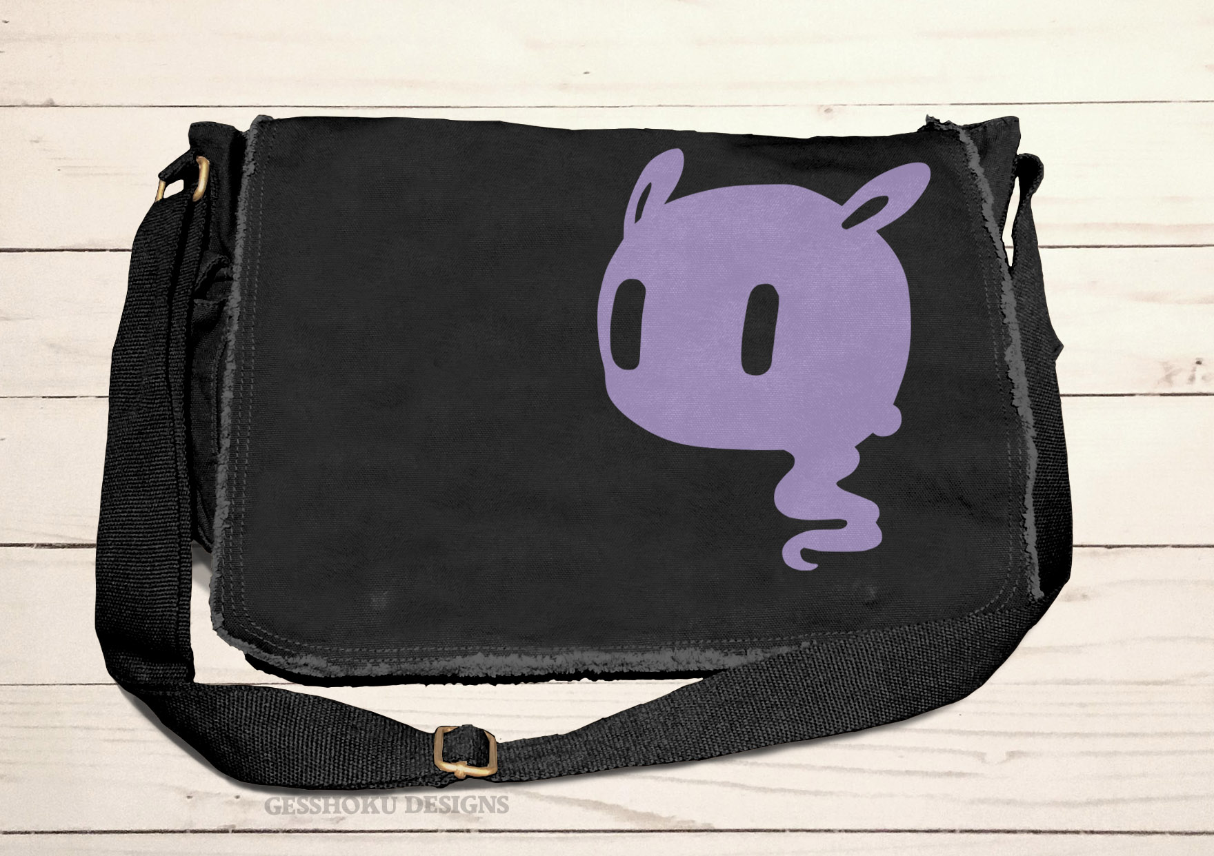 Kawaii Ghost Messenger Bag - Black/Purple