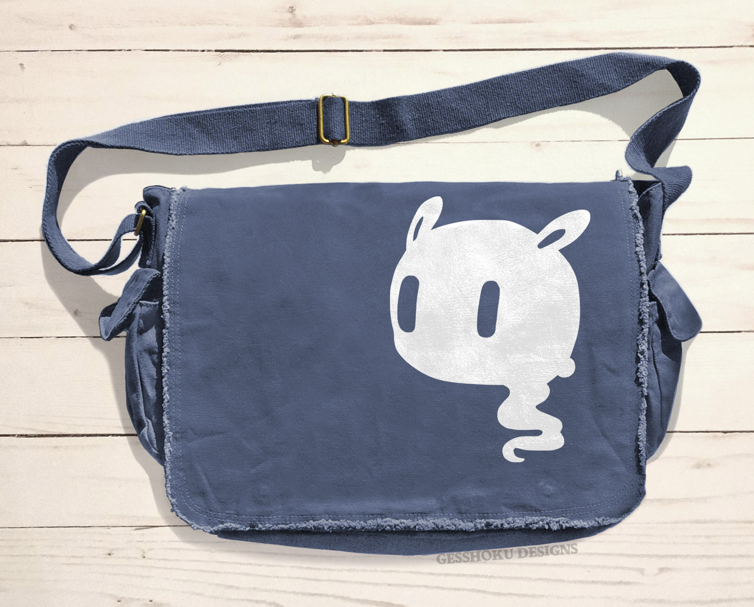 Kawaii Ghost Messenger Bag - Denim Blue