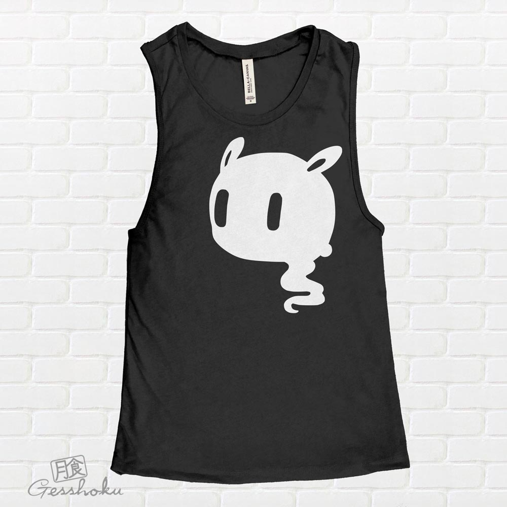 Kawaii Ghost Sleeveless Tank Top - Black