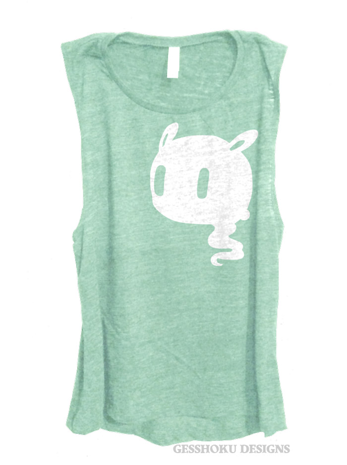 Kawaii Ghost Sleeveless Tank Top - Mint