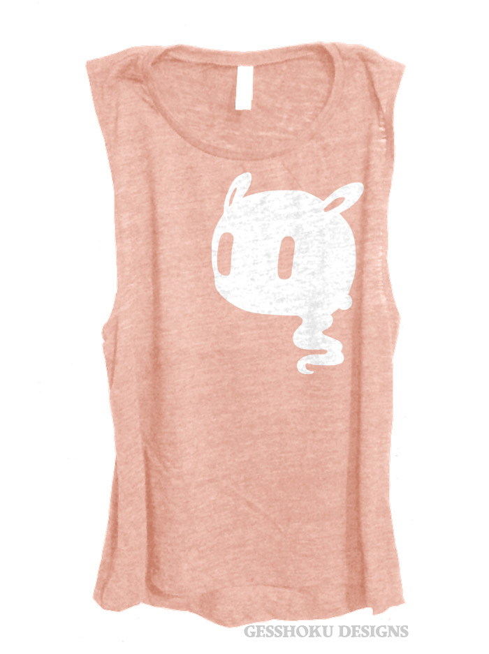 Kawaii Ghost Sleeveless Tank Top - Rose Gold