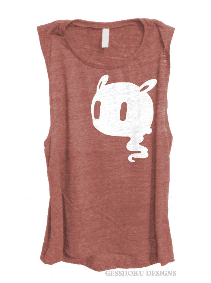 Kawaii Ghost Sleeveless Tank Top - Rose Wine