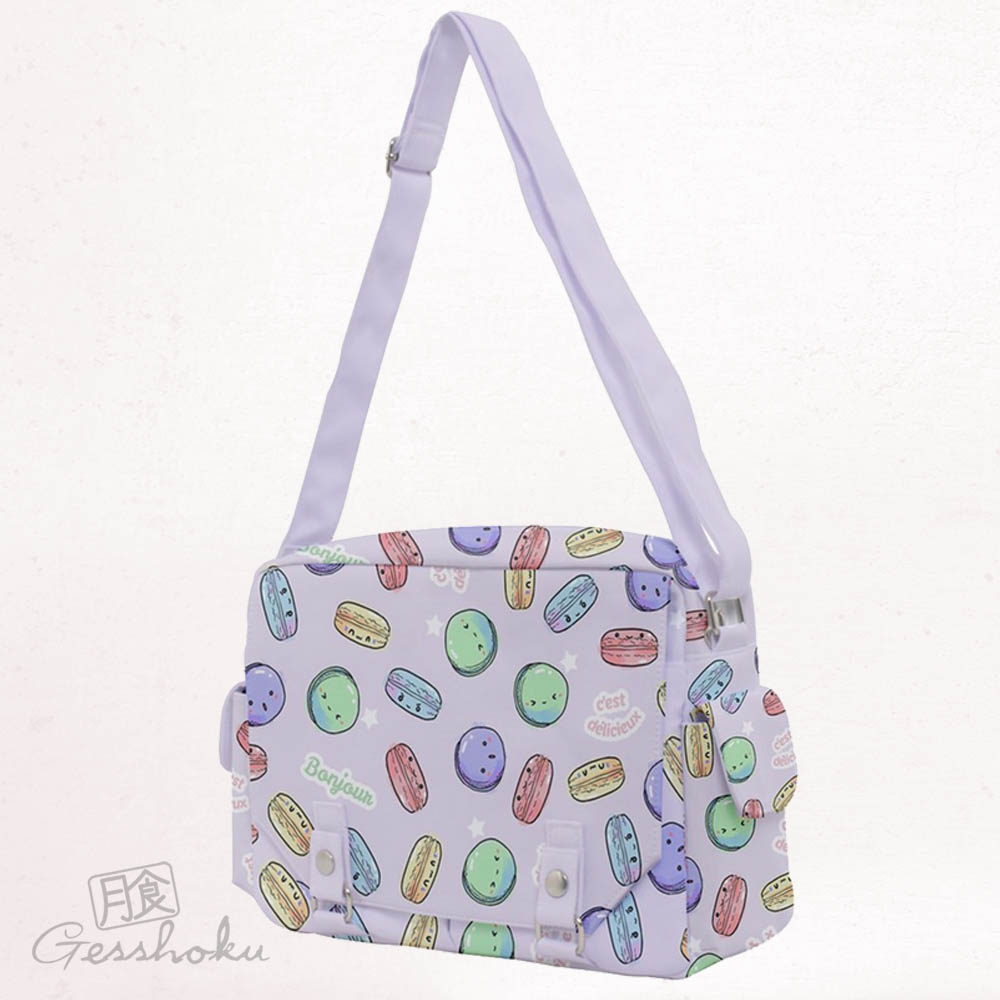 Delicious Macarons Full-Print Messenger Bag - Lilac