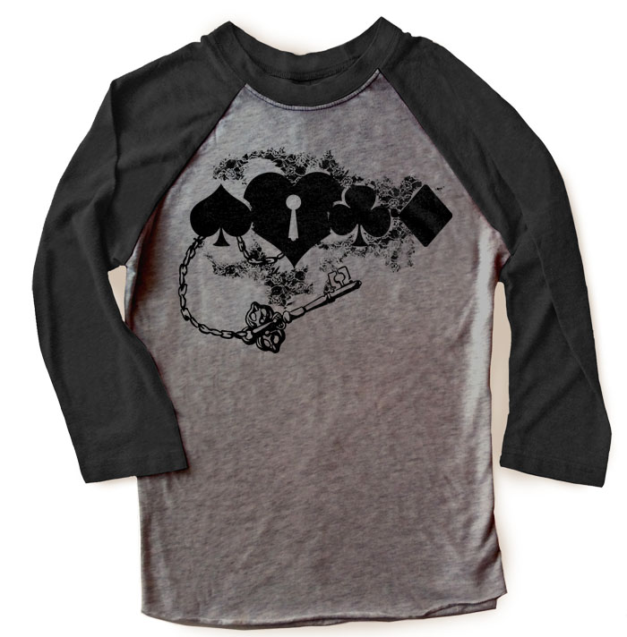 Key to My Heart Raglan T-shirt 3/4 Sleeve - Black/Charcoal Grey