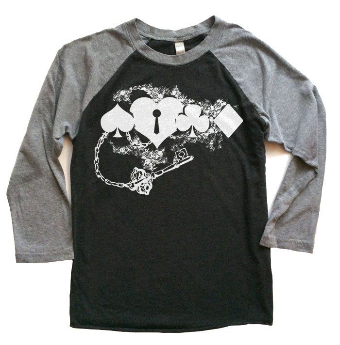 Key to My Heart Raglan T-shirt 3/4 Sleeve - Grey/Black